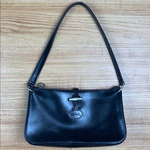 Longchamp Paris Black Leather Shoulder Bag Purse